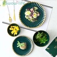vintage dark green chrysanthemum ceramic dish emerald gilt plates fruit plate salad bowl soup bowl ceramic plate for tableware