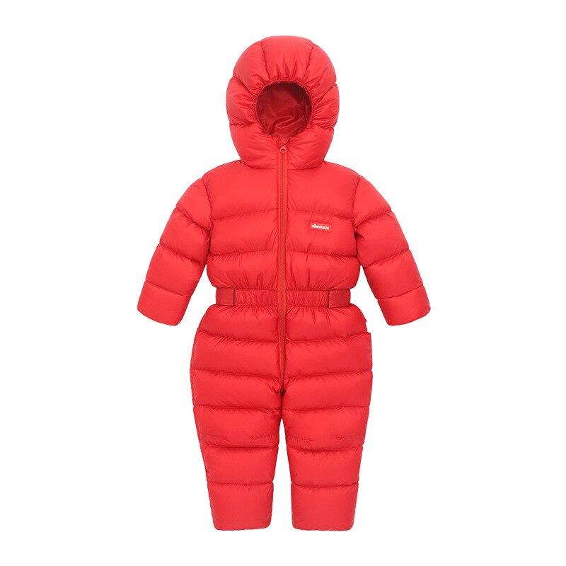Baby Siamese Down Jacket Foot Thicken Girls Baby Children Infants White Duck Down One-piece Winter Thicken enlarge