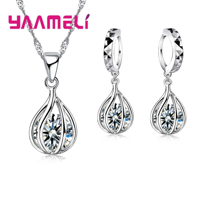 925 Sterling Silver Jewelry For Women Cute Round Drop Shape Jewelry Set Pendant Necklace Hoop Earring Big Promotion Sale superwear 925 sterling silver hoop earrings with charm yellow gold color women men round coin pendant earring vintage jewelry