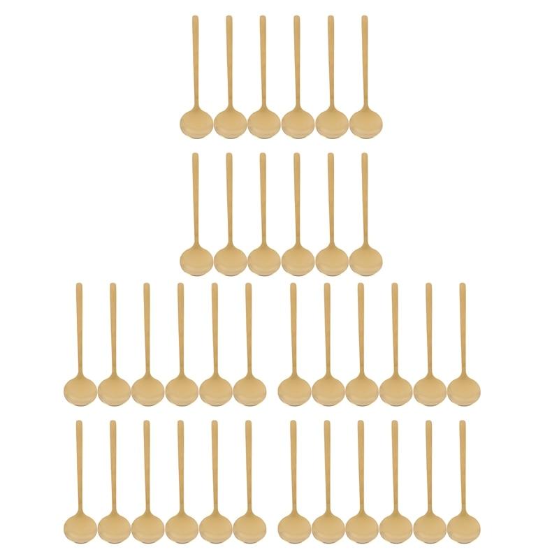 HOT-36X شكل دائري ملعقة قهوة الفولاذ المقاوم للصدأ ملاعق صغيرة السكر ملعقة الحلوى/ الحلويات الآيس كريم ملعقة شوربة (الذهب)