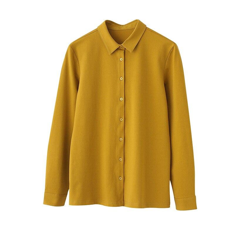95% Cotton Long Sleeve Shirt Women Autumn Winter Spring Peter Pan Collar Camisas Femininas Elegantes Plain