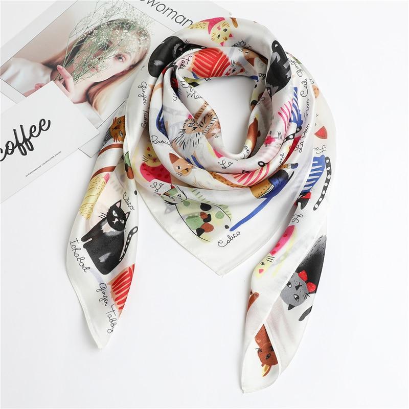 2020 Hot Sale Women Silk Scarf Square Shawls Hijab Head Band Foulard Lady Neck Scarves Fashion Cat Print Cartoon Hand Kerchief