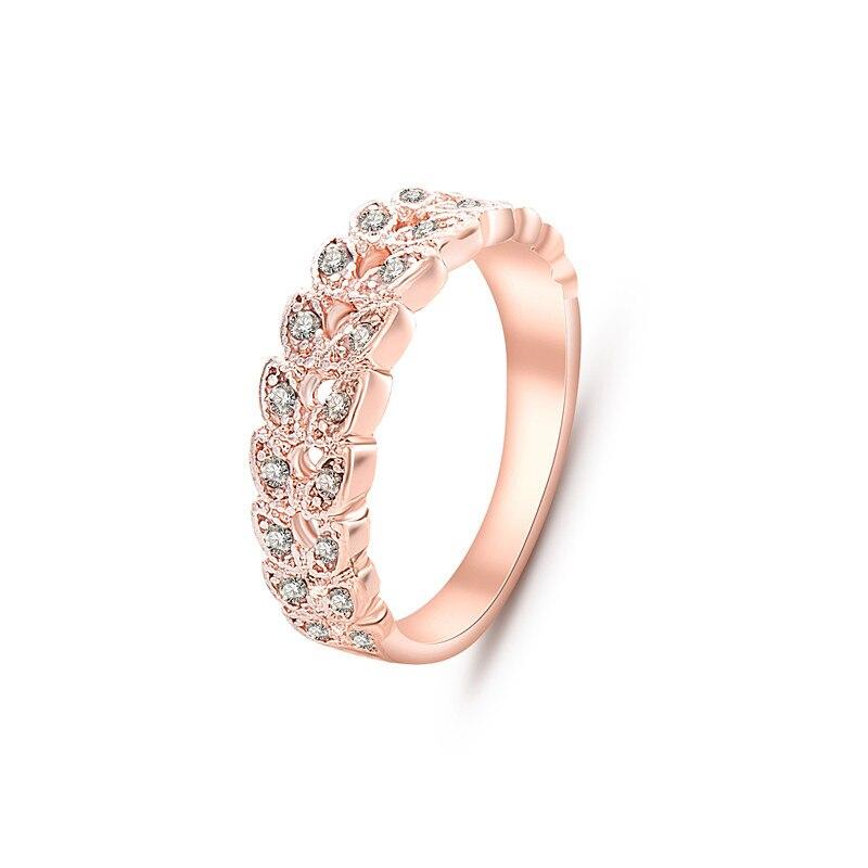 2019 Simple anillos de cristal de oro rosa para mujeres en forma de hoja anillos de boda para damas anillos de moda para dedo para mujeres regalos de cumpleaños