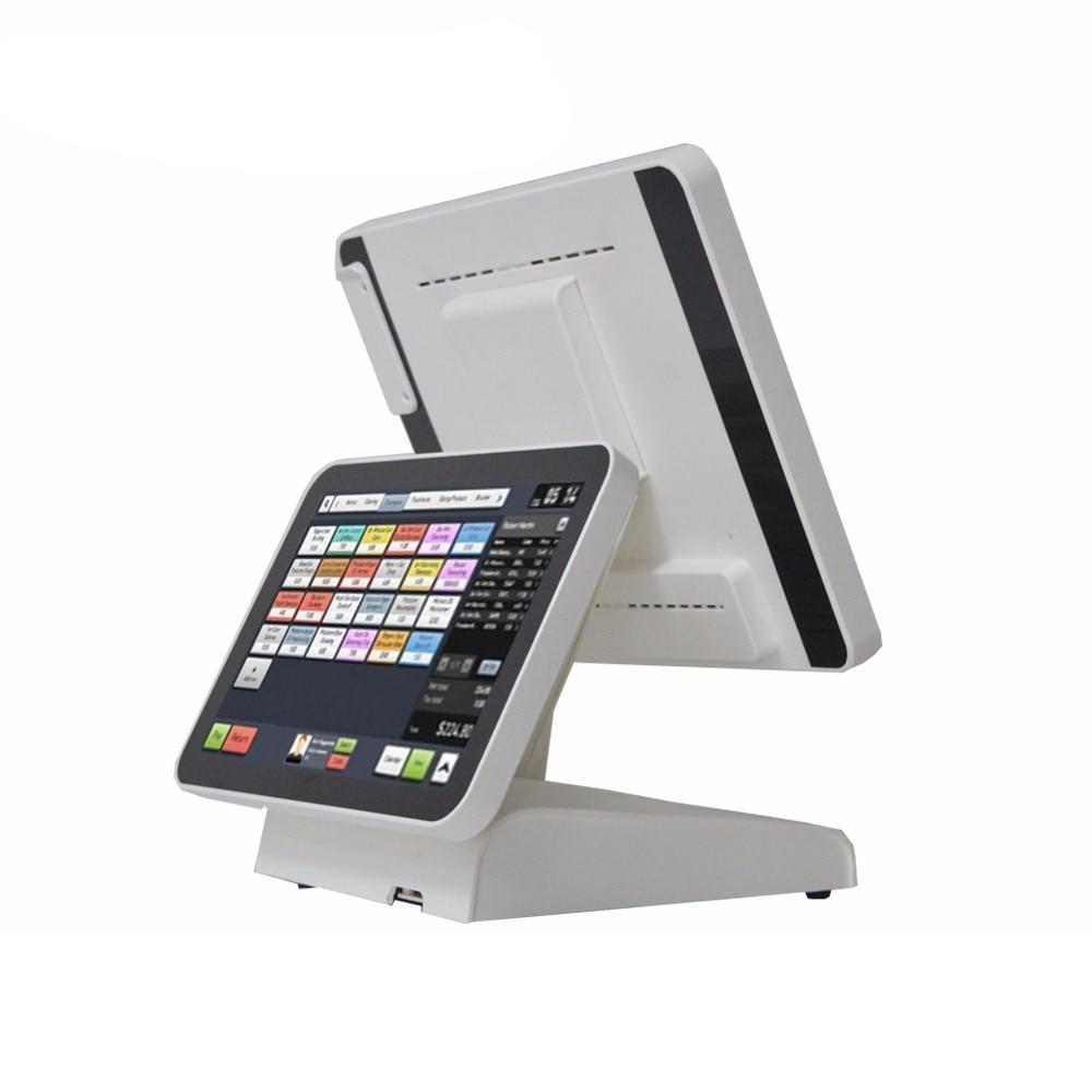 Sistema de punto de venta de pantalla dual de 15 para minoristas, Terminal de punto de venta comercial con máquina POS de pantalla pura