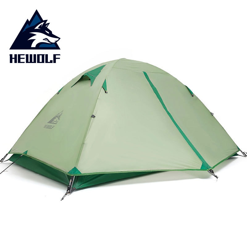 Hewolf ultraleve dupla barraca de acampamento à prova d20água 20d silicone ao ar livre pólo alumínio 2 pessoa tendas acampamento