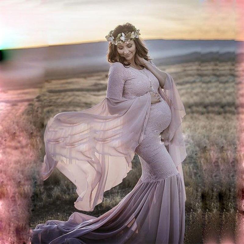 Pregnant Robe Dress Maternity Photography Props Elegant Maxi Gown Pregnancy Dress Shoulderless Maternity Dresses for Photo Shoot enlarge