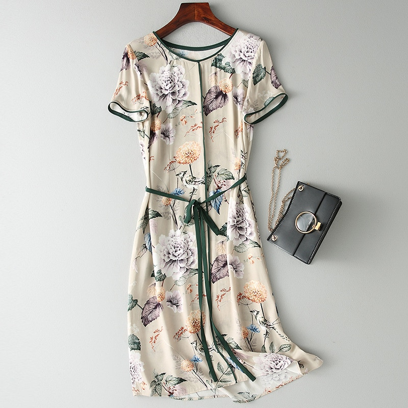 Tcyeek vestido de verão das mulheres vestidos de seda real feminino longo floral do vintage vestidos coreano elegante praia vestidos de festa à noite s078