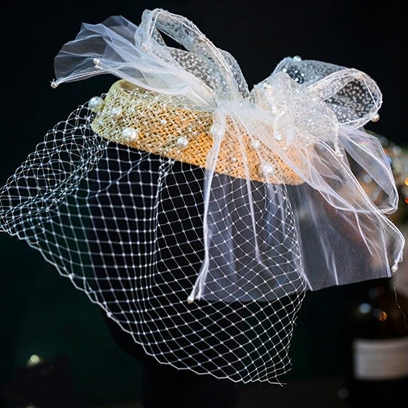 الزفاف الزفاف القبعات أزياء الشالات خوذة حزب قبعة الصدار أنيقة الأبيض bridcage الحجاب حزب اكسسوارات للشعر