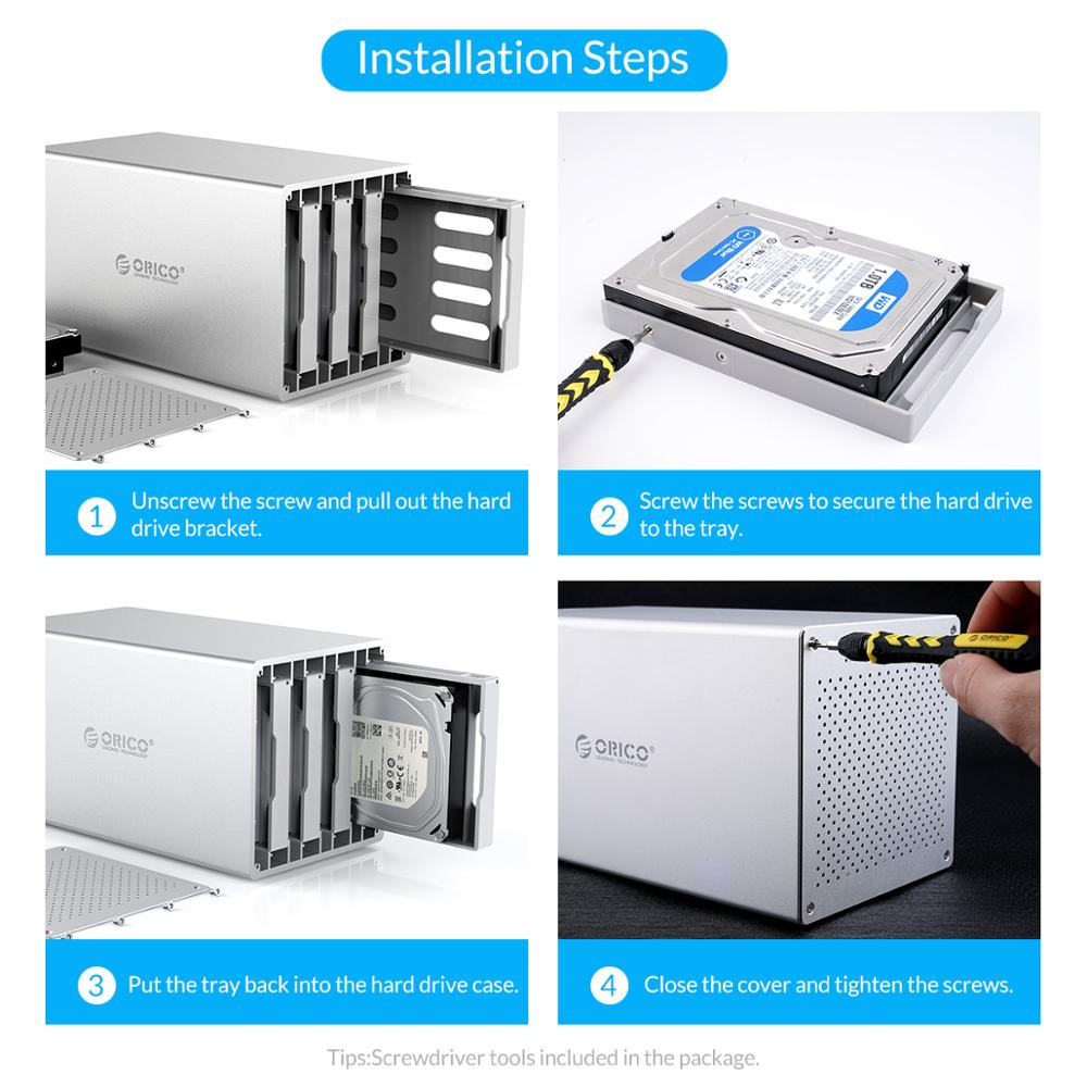 ORICO 32-80TB Multi Bay 3.5'' Aluminum HDD Docking Station SATA to USB3.0 HDD Enclosure Honeycomb Cooling With 7 Raid Mode enlarge