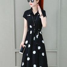 Women's Office Party Dress Short Sleeve T Shirt Korean Foreign Style Chiffon Polka Dot Women Summer