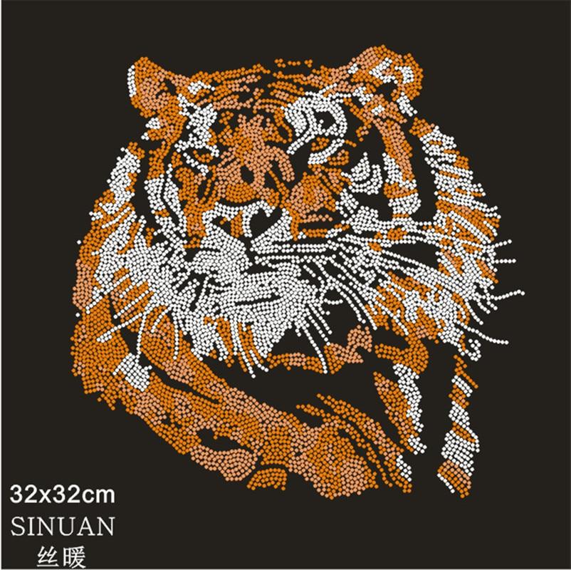 Tigre motivo de parche de cristal de diamante de imitación de hierro parche artesanías con diamantes camiseta calcomanías de cristal de tela Accesorios