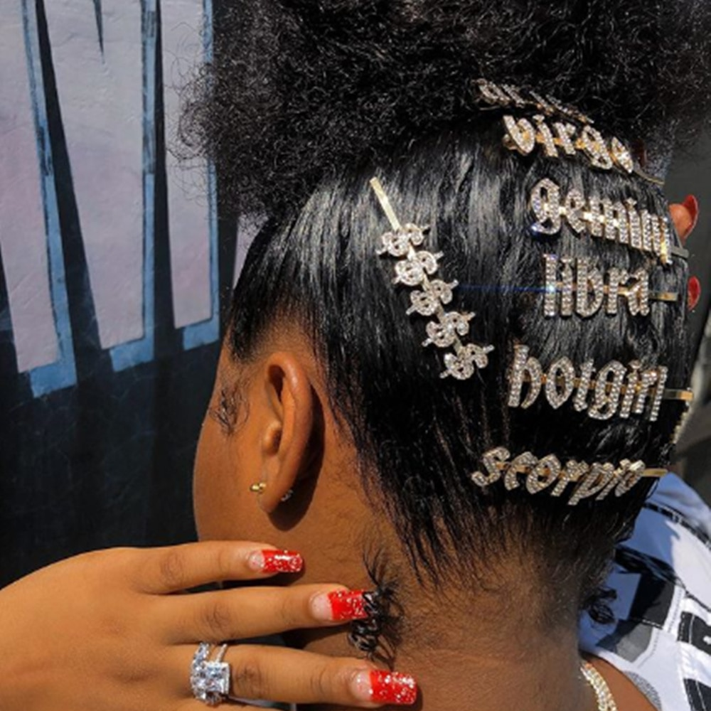 Stonefans Luxury Crystal Rhinestone 12 Zodiac Hair Pins Hair Clips for Women Jewelry Custom Hotgirl Letter Hairclip Barrettes