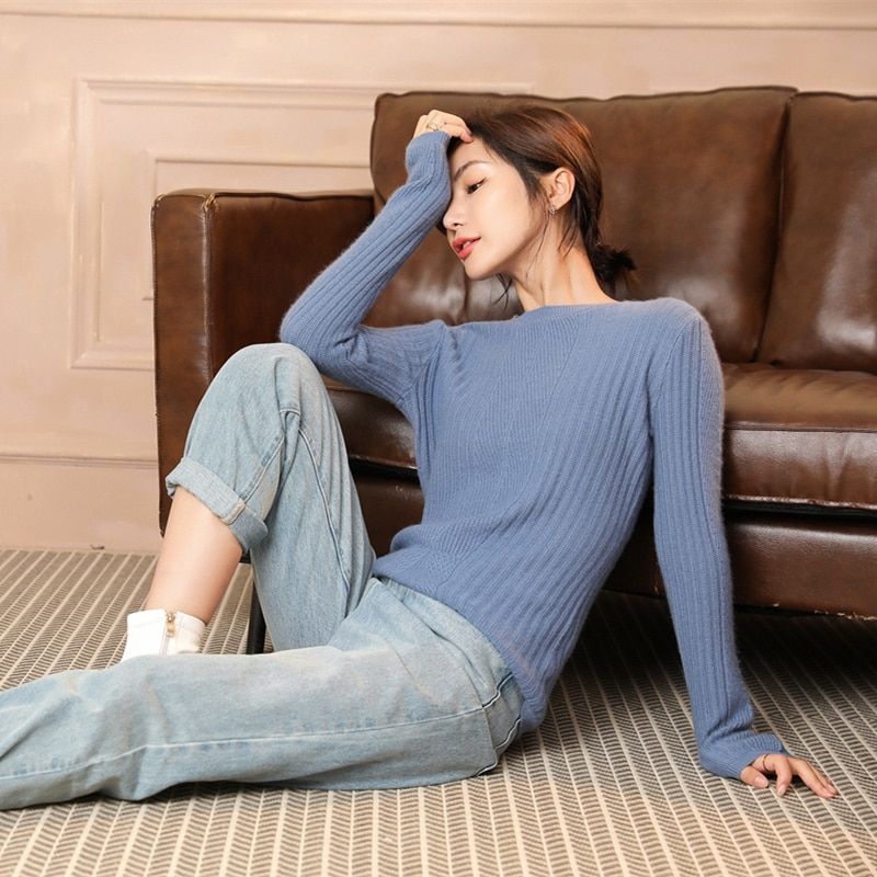adishree 2021 woman winter 100% Cashmere sweaters and auntmun knitted Pullovers High Quality Warm Female thickening O-neck enlarge