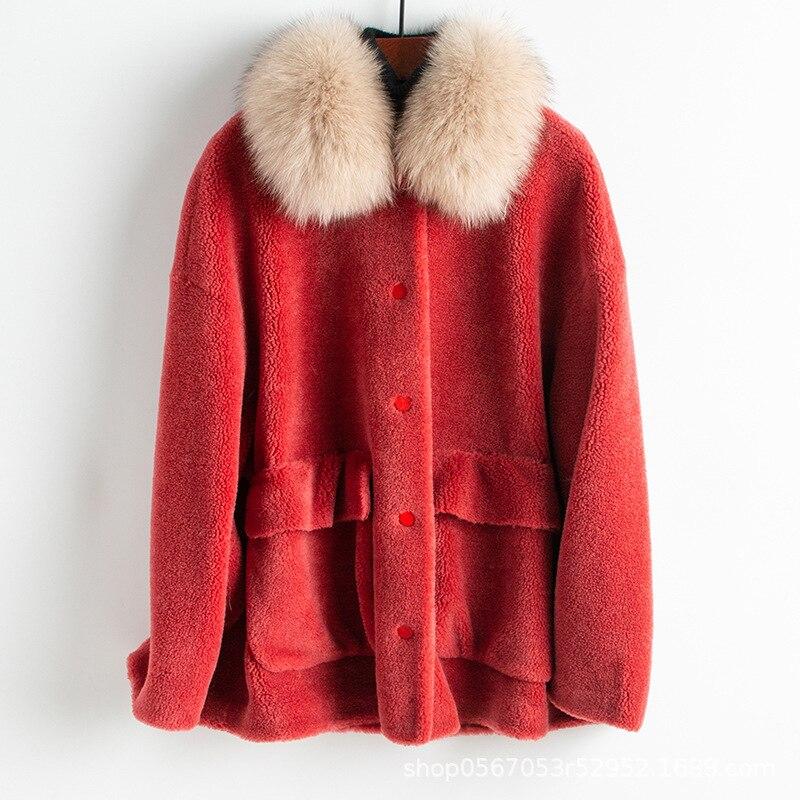 Casaco de lã gola de pele de raposa casaco de pele real outono inverno roupas femininas 2020 streetwear coreano do vintage sheep shearling zt3327