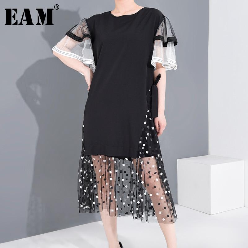[EAM] Women Black Mesh Printed Ruffles Temperament Dress New Round Neck Short Sleeve Loose Fit Fashion Tide Spring Summer 2020