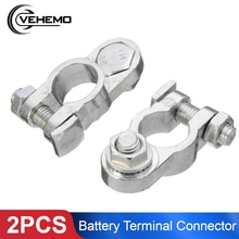Vehemo Hot 2Pcs 1.2cm Car Truck Battery Terminal Connector Clamp Clips Negative Positive Aluminum Alloy Material