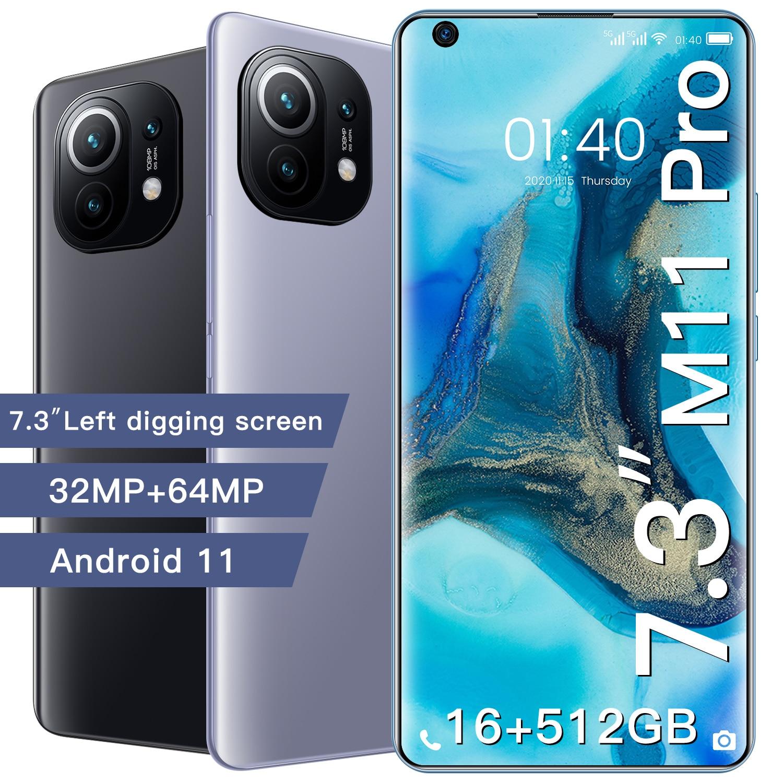 الإصدار العالمي M11 Pro 7.3 بوصة الهواتف الذكية 16G + 512G 6800Mah بطارية أندرويد الهواتف الذكية 32MP + 64MP دعم جوجل موبايل
