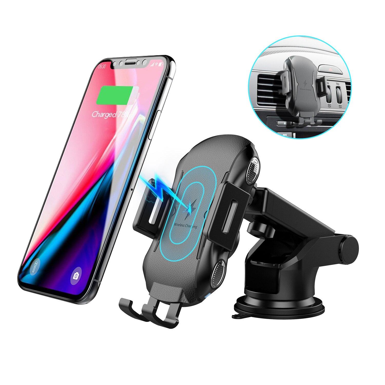 Cargador inalámbrico de montaje en coche de 10W para iPhone 11 Pro XS Max carga rápida Qi soporte de teléfono de coche para Doogee BL9000 S60 S60 Lite