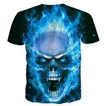 Popular Men Tshirt Short-Sleeve 3d-Printed Uniquely O-Neck Blue Skull Tshirt Men