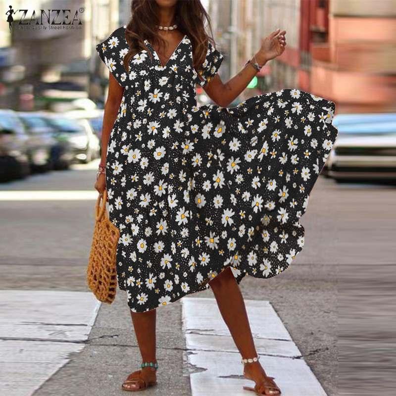 2020 zanzea verão boêmio floral impresso vestido de verão das mulheres com decote em v manga curta praia vestido solto maxi vestidos femme robe