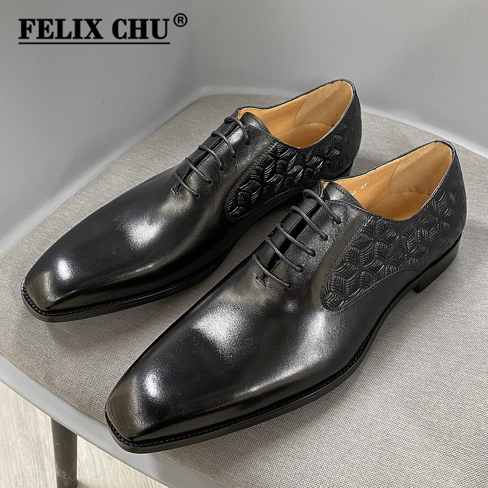 Large Size 13 Size 47 Mens Dress Oxford Shoes Real Leather Handmade Black Lace Up Plain Toe Wedding Formal Italian Shoes for Men