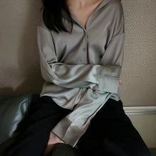 Deeptown Office Shirts Women Autumn 2020 Fashion Women Blouses Elegant Satin Button Up Shirt Loose Long Sleeve Women Clothes