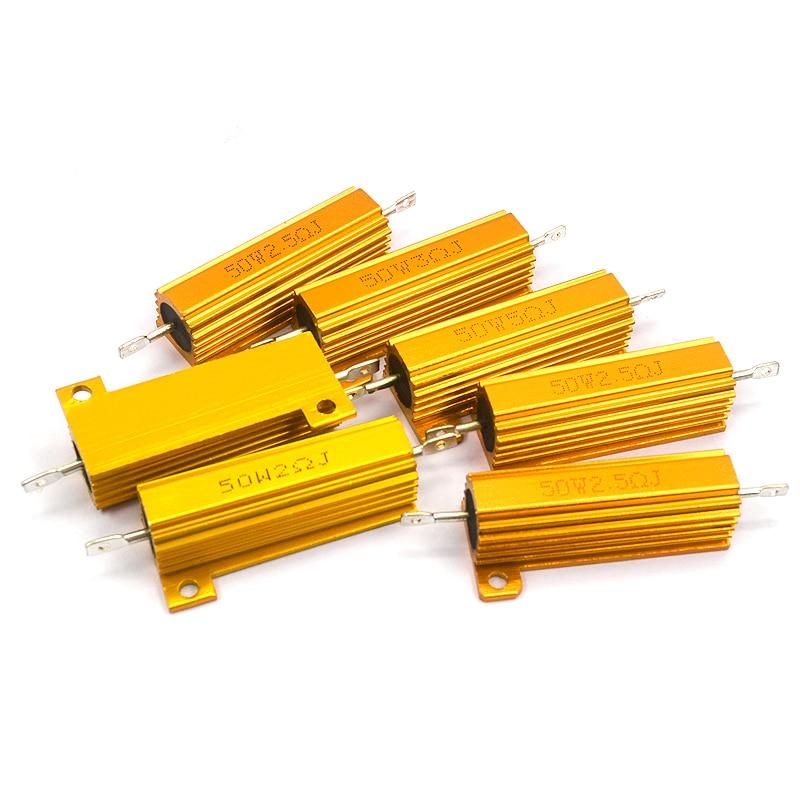 50 Вт 5% Алюминий Мощность металлический корпус чехол с проволочной обмоткой резистор 1R 2R 3R 6R 8R 10R на возраст 1, 2, 3, 6 8 10 Ом