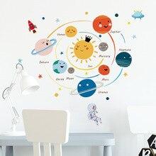 Pegatina de pared de planetas del sistema solar de dibujos animados para habitación de niños, mural de decoración del hogar, papel tapiz extraíble, pegatinas para dormitorio y guardería