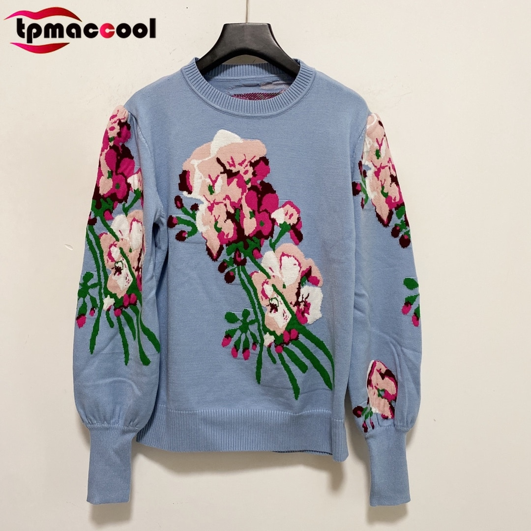 Designer Fashion Autumn 2021 Woman Sweaters Flower Jacquard Lantern sleeve Wool Sweater Luxury Brand High end knitted pullover enlarge