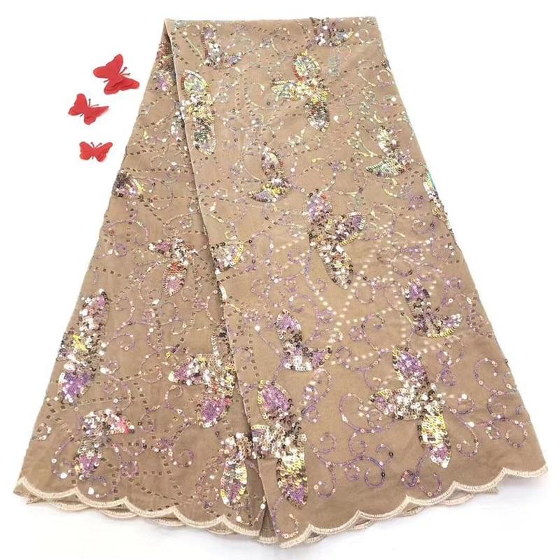 5 yardas de oro Real encaje francés lurex bordado africano tul encaje tela nigeriana vestido de noche de alta calidad