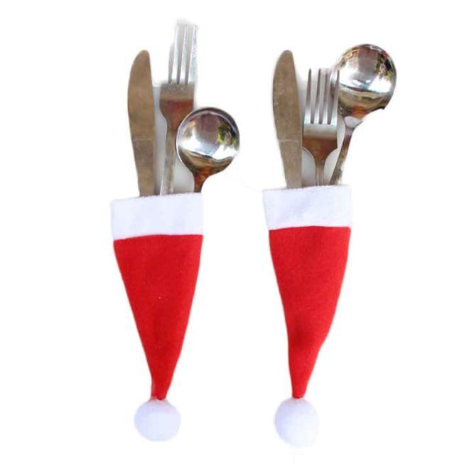 Sombrero de Santa Reno Navidad Año nuevo tenedor de bolsillo cuchillo cubertería soporte bolsa hogar fiesta Mesa cena decoración vajilla