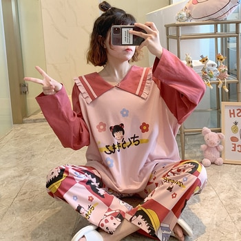 Pajamas Female Spring and Autumn Cute Chibi Maruko Chan 2020 New Style Long Sleeves Pure Cotton Two-Piece Suit Plus-sized