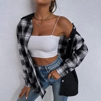 fridayin autumn winter new women black and white plaid casual single breasted ladies loose long sleeved shirts female lapel tops