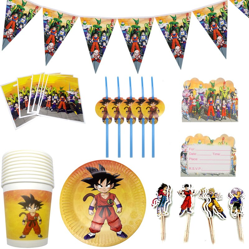 84pcs/lot Son Goku Theme Cake Toppers Loot bags Birthday Party Plates Cups Straws Decorate Invitatio