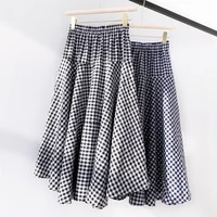 qooth plaid skirts womens summer beach long skirt high elastic waist big hem plaid flare skirt cotton blend women jupe qh2301
