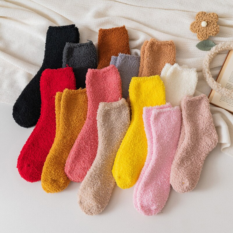 Elastic Fleece Floor Sock Mid-Calf Length Hosiery Winter Warm Fluffy Socks Coral Velvet Feet Warmer Christmas Gift Sleep Meias