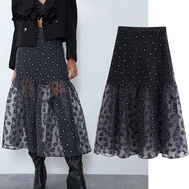 2019 england style office lady hard gauze polka dot embroidery high waist za skirt women faldas mujer moda 2019 skirts womens