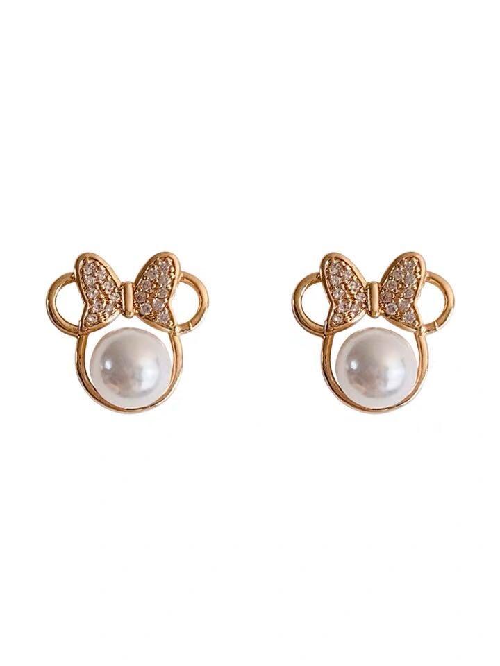 Anting-anting kristal mutiara kristal untuk wanita busur sederhana - Perhiasan fesyen - Foto 6