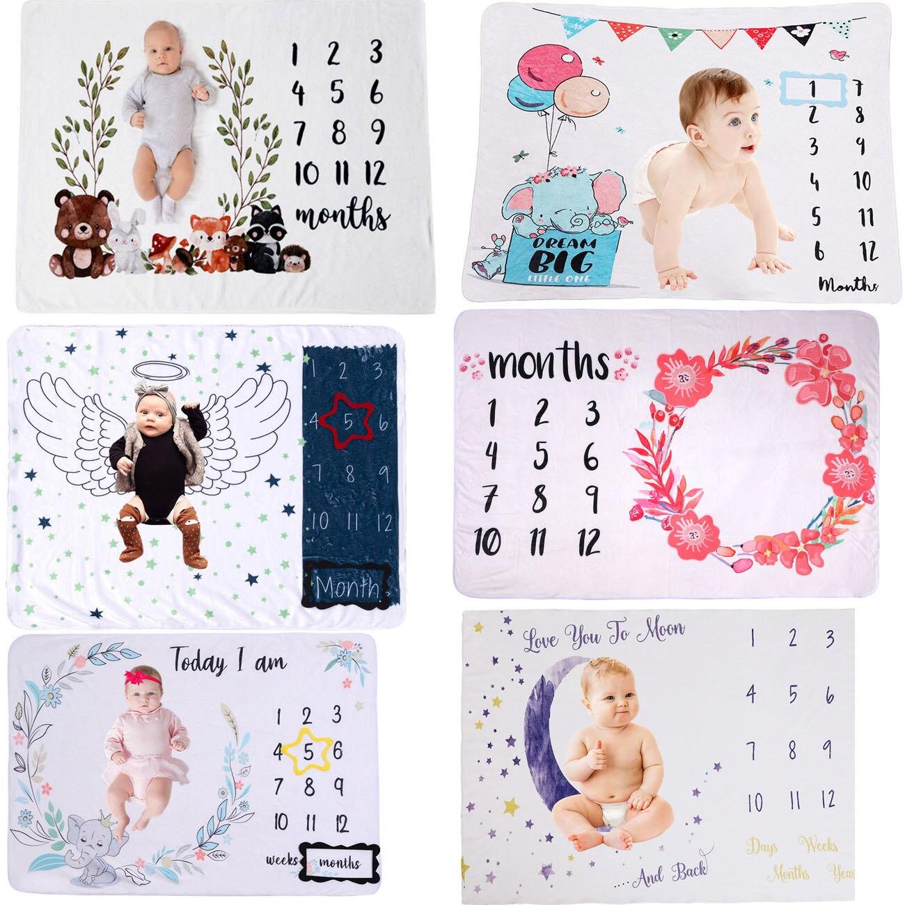 Детские ежемесячно веху одеяла мягкие цветочные памяти одеяла для девочек и мальчиков с милыми фото одеяла для заднего фона игровые коврик...