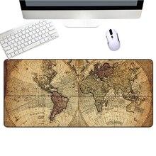 Large Gaming Mouse Pad Gamer Old World Map Anti-slip Natural Rubber Keyboard Mats Locking Edge Keyboard Mouse Mats