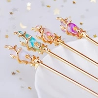 vintage chinese style hair stick women metal rhinestone hair stick hair chopsticks hairpin woman jewelry hair clip accessories