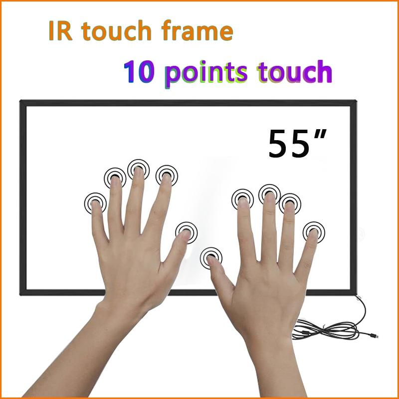 10 نقاط 55 بوصة الأشعة تحت الحمراء شاشة تعمل باللمس الإطار دون الزجاج ، الأشعة تحت الحمراء تركيب شاشة لمس عدة ، 55