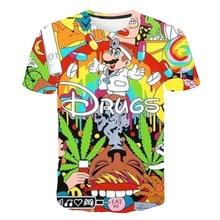 Brand New Summer Fashion T-shirt Drugs&weed t shirt Cartoon Super Mario 3D Print Mens Womens t shirts Creative Anime Tee Tops