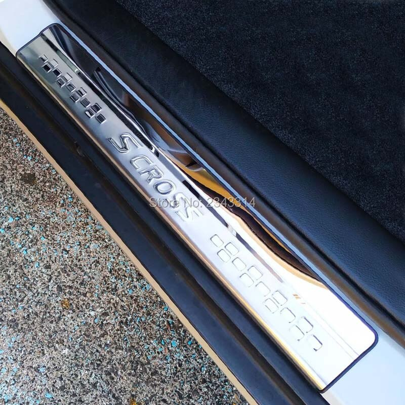 Para Suzuki SX4 S-Cross morsa 2014-2018 de 2019 inoxidable 2020 coche Umbral de puerta patear desgaste placas protectoras Trim estilo de coche accesorio