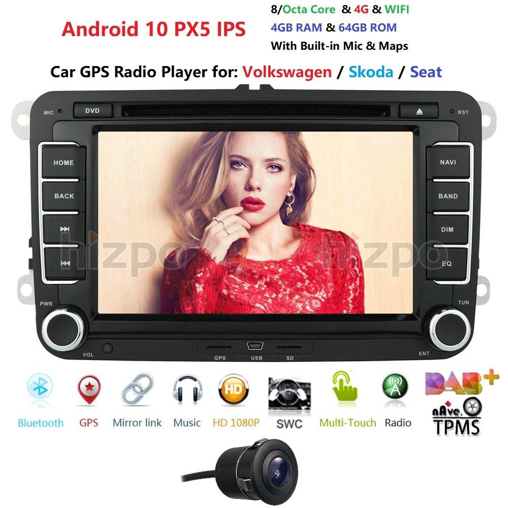 7 pulgadas 4GB Android 10 2 Din Car Radio para VW GOLF Passat POLO Tiguan CC Skoda Fabia rápido aún Seat Leon GPS de navegación con BT