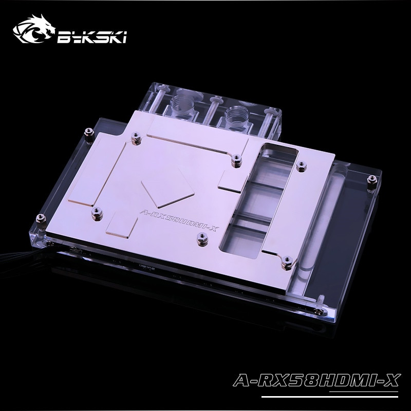 Bykski, bloque de agua de cobertura completa RGB/A-RGB GPU para VGA, AMD, RX580, tarjeta gráfica HDMI, A-RX58HDMI-X