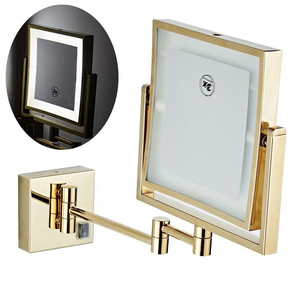 bathroom mirror antique red copper double side make up mirror dressing room round magnifying cosmetic mirror wall mounted nba631 Dressing Mirror 8 inch two side 3X /1X Wall Mounted Gold Square LED Mirror Folding Brass Makeup Mirror Cosmetic Mirror Lady Gift