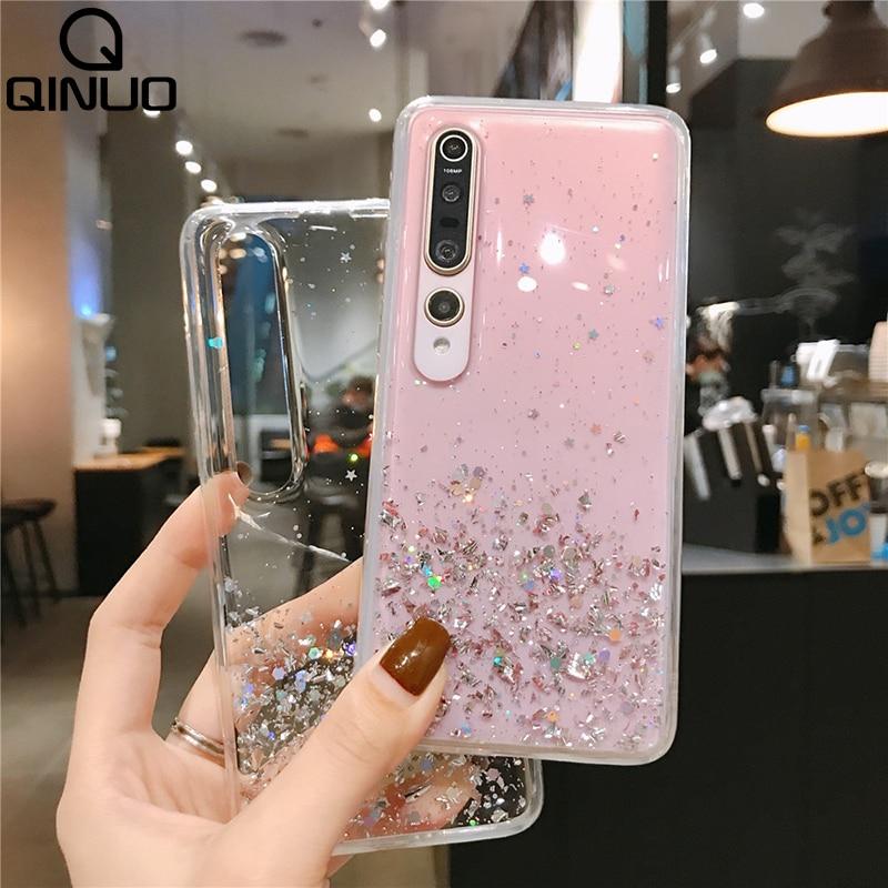 Bling Sterne Pailletten Fall Für Xiaomi Rot Mi 8 10 Pro 9T T Redmi Hinweis 9 S 9 S 8T 7 6 Pro 8A 7A K20 K30 Glitter Transparent Soft Cover
