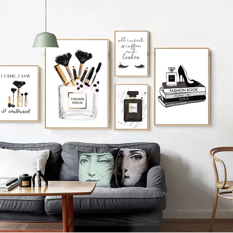 Modern Fashion Wall Art Poster Black White Perfume Eyelashes Makeup Canvas Painting Vintage Vogue Picture For Living Room Decor