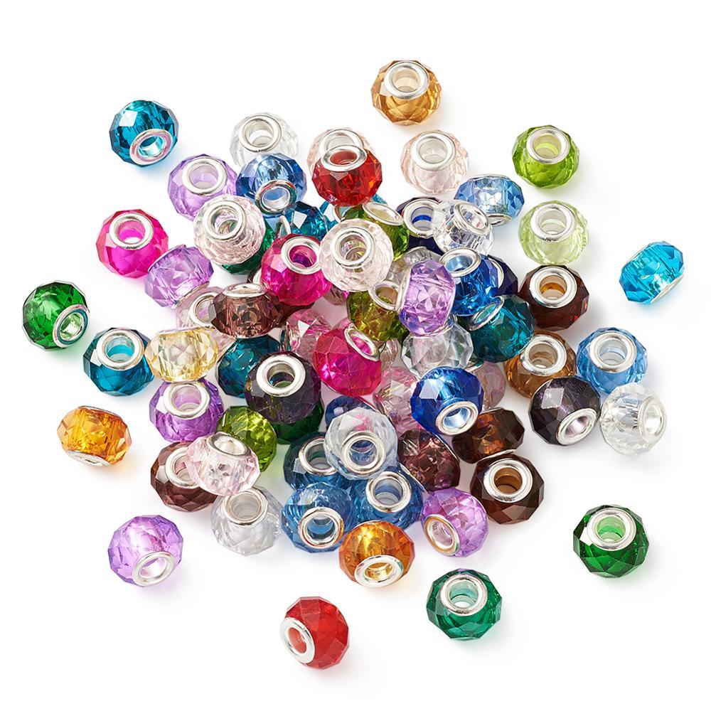 Cuentas de cristal de estilo europeo de gran agujero 100 Uds. Cuentas de Rondelle facetadas de doble núcleo para hacer joyas de pulsera de cadena de serpiente DIY